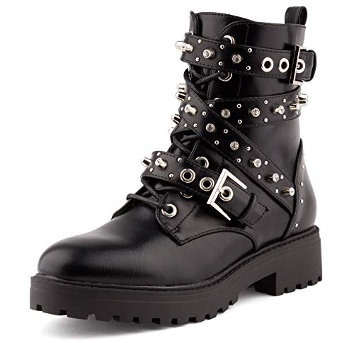 Fusskleidung Damen Stiefeletten Biker Boots Nieten Booties Strass Stiefel Schuhe Schwarz EU 37