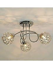 Kosilum Plafondlamp, 3 bollen, afhyse, warmwit, verlichting, woonkamer, slaapkamer, keuken, hal, 3 x 25 W, G9, IP20