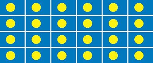 Mini Aufkleber Set - Pack glatt - 33x20mm - Sticker - Palau - Flagge-Banner-Standarte fürs Auto, Büro, zu Hause & die Schule - 24 Stück