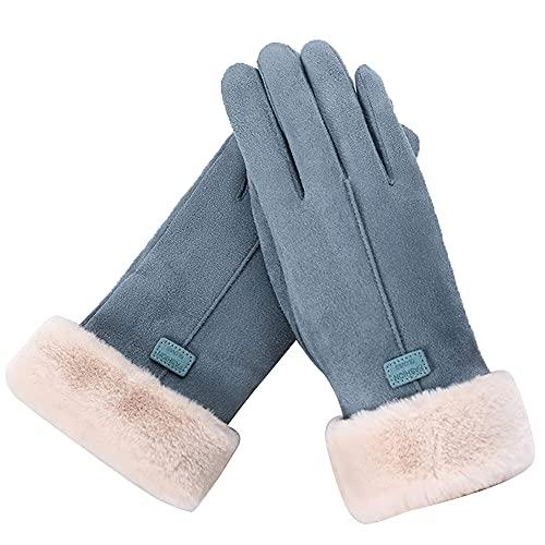 YJLGMM Invierno Pantalla táctil Guantes de esquí Cashmere de Punto de Hecha de Invierno Guantes de Infierno Cashmere Hecho Mujeres Otoño Invierno Guante Cálido (Color : Blue, Gloves Size : One Size)