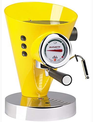 BUGATTI, Diva, Machine à Café Expresso et Cappuccino, Pour Café Moulu et Dosettes, 15 Bar, 950 W, Capacité 0,8 Litre, Design Élégant, Couleur Jaune