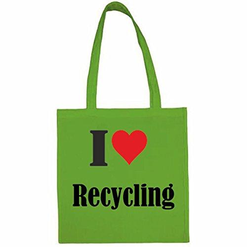 Tasche I Love Recycling Größe 38x42 Farbe Grün Druck Schwarz