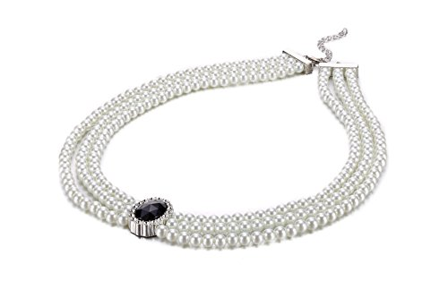 Prestina Ladies Black Bead and Diamantee Crystal 3 Layer Faux Pearl Necklace Pendant Costume Fashion Jewellery