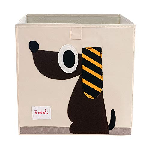 3 Sprouts Large 13 Inch Square Children's Foldable Fabric Storage Cube Organizer Box Soft Toy Bin, Brown Dog & Blue Peacock (2 Pack)