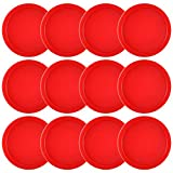 Coopay 12 Pieces Home Air Hockey Pucks 2.5 Inch Heavy Replacement Pucks for Game Tables Equipment Accessories, 13 Grams (Red)