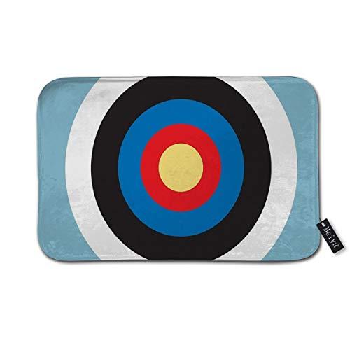 Nonebrand - Felpudo rectangular antideslizante para dormitorio, baño, cocina, diseño de toros sobre el objetivo de tiro con arco, color azul, 60 x 40 cm