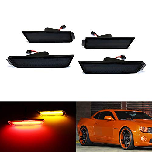 iJDMTOY Smoked Lens Amber/Red Full Side Marker Lights Compatible With 10-15 Chevy Camaro, (Front: Amber, Rear: Red) Powered by Total of 96 SMD LED Diodes
