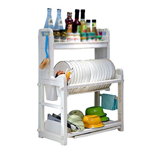 Estante de cocina de Tres Niveles Plato de desagüe de plástico Cuchillo...