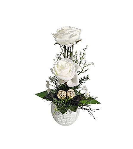 Blumengesteck Tischgesteck Tischdeko Rosen Rosengesteck Kunstblume Dekoblume künstlich Kunst Blume Muttertag Geschenkidee unecht Topf H 34 cm 113 (weiß)