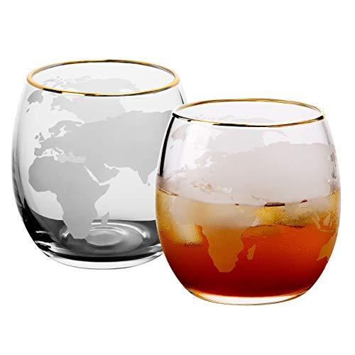 CNNIK Vasos Copas de Whisky, Vasos de Agua Jugo Tumbler con Patrón de Mapa Mundial y Borde Dorado, Apto para Lavavajillas, 400ml, Set 2 Piezas