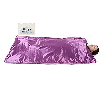 Far Infrared Sauna Blanket, 110V Waterproof Detoxification Blanket with Safety Switch Used As Home Sauna for Body Shape Slimming Fitness (Purple)