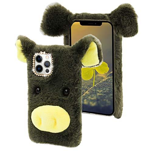 Cestor Plüsch Handyhülle für Huawei P30,Niedlich 3D Schwein Weich Winter Warm Pelzig Flauschige Faux Pelz Glitzer Diamant Stoßfest Silikon Hülle,Grün