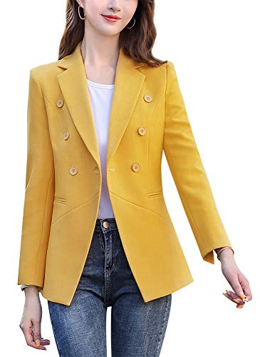 SUSIELADY Womens Casual Jacket Casual Work Blazer Office Jacket Slim Fit Blazer for Business Lady (A98-Yellow, Large)