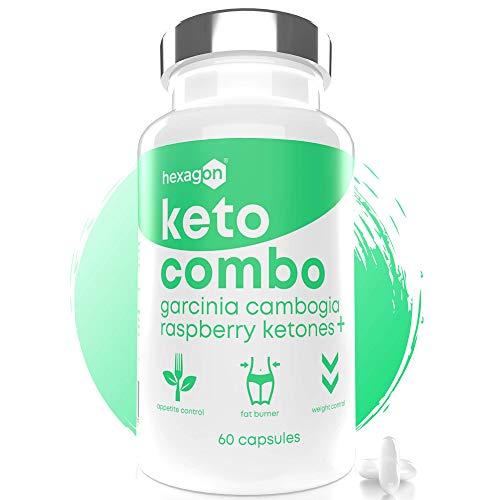 KETO COMBO - Coupe Faim Puissant et Efficace - Brûle Graisse Minceur Naturel - Au Garcinia Cambogia & Cétone de Framboise - Keto Fat Burner - + 1 Mois de Cure - 60 Capsules - Hexagon