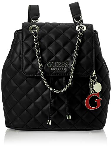 Guess Melise Borsa a Zainetto in Ecopelle Trapuntata Colore Nero con Catena VG766732