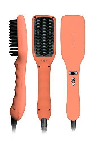 ikoo E-Styler - Ionen Glättbürste in Reisegröße, Haarglätter mit Kamm, Glätteisen für seidig glatte Haare, Bürste, Glättungsbürste mit Keramikplättchen inkl. hitzebeständigem Beutel - Orange Blossom