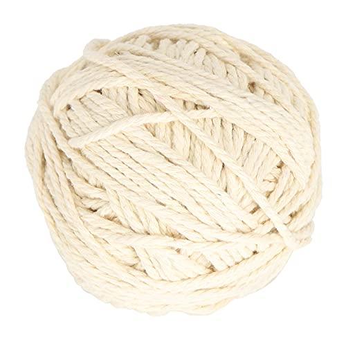 Agatige Cuerda de cordón de macramé, Soporte Individual Cuerda de algodón de macramé Blanco 3 hebras Rollo de Alambre Grueso Cojín de Mano Tejer