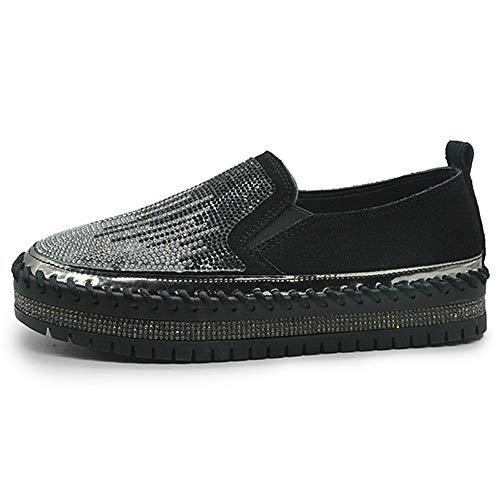 JXILY Zapatillas Low-Top Shoes Mocasines de Diamantes de Imitación de Gran Tamaño Zapatillas de Skateboard Calzado Transpirable al Aire Libre,Negro,38