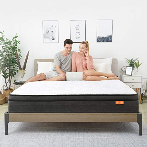Queen Mattress- Sweetnight Queen Size Mattress in a Box,10 Inch Plush Pillow Top Spring Hybrid Mattress,Gel Memory Foam for Sleep Cool, Motion Isolating Individually Wrapped Coils, Twilight
