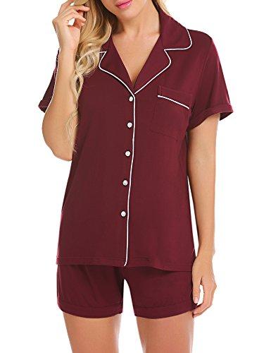 Ekouaer Pj Set Women's Button Down Sleepwear Short Sleeve Pajamas with Shorts (Wine Red,M)