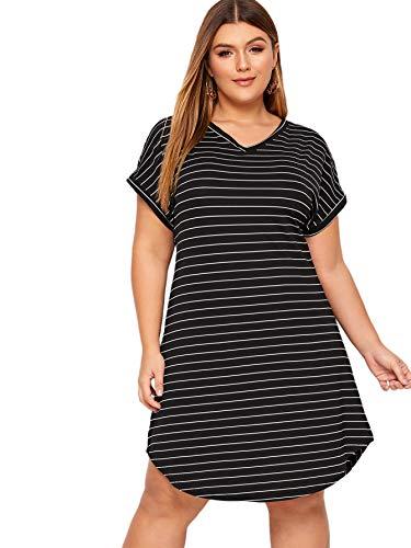 Floerns Women's Plus Size Casual Striped V Neck Short Sleeve T Shirt Tunic Dress Black 2XL