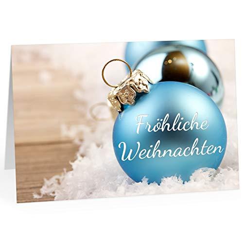 Große XXL Weihnachtskarte DIN A4 (Design Blaue Weihnachtskugeln mit Spruch) mit Umschlag/Weihnachten/Klappkarte/Grußkarte/zum Geschenk/moderne Karte