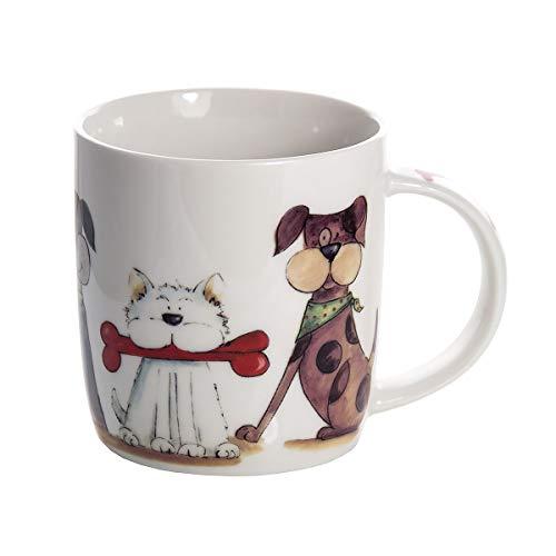 Tasse Hund Kaffee-Tassen Kaffeebecher Keramik Porzellanbecher mit Nette Hundemotiv Geschenk für Hundebesitzer Hundeliebhaber und Hundefreunde