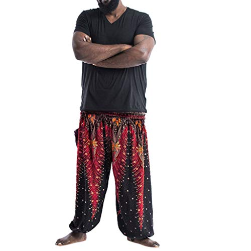 HYSGM Men Summer Casual Loose Hippie Yoga Trousers Boho Casual Wide Leg Beach Pants (One Size, Red)