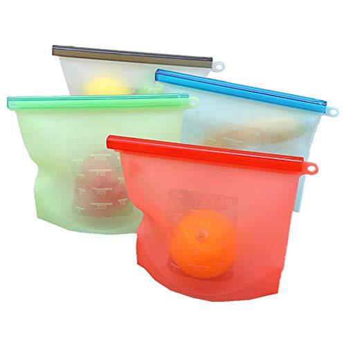 4 PCS Silicone Kochbeutel Food Grade Vielseitige Konservierung Tasche für Obst Gemüse Fleisch, Wiederverwendbare Silikon Lebensmitteltasche Einfrieren und Konservieren