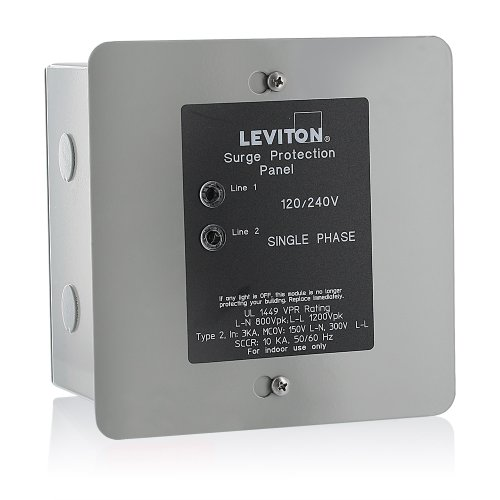 Leviton 51120-1 120/240 Volt Panel Protector, 4-Mode Protection, Light Commercial/Residential Grade,...