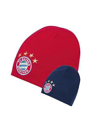 FC Bayern München Wende-Beanie Logo/Winter Mütze in Navy und rot