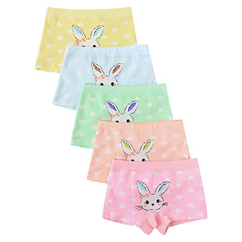 Little Girls Rabbit Panties Bunny Boyshort Pink Undies 5 Pack Boxer Briefs for Kids