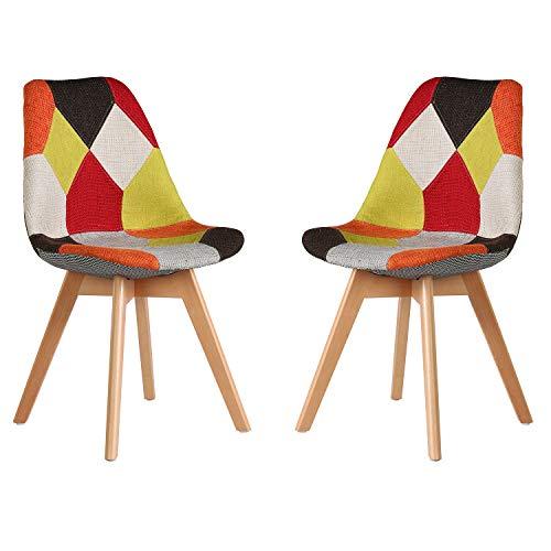 Juego de 2 sillas silla retro nórdica patchwork silla de recepción silla de maquillaje adecuada para dormitorio sala de estar comedor cocina hotel sala de estar silla de conferencia (Tonos cálidos)