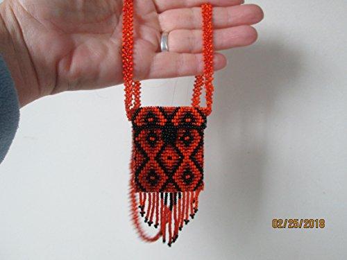 orange and black geometric tribal geometric Hand beaded Guatemalan central american Native diamond medicine bag stash pouch necklace fair trade southwest glass beads Aztec Indian design Ethnic bead