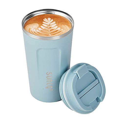 SUNTQ Kaffeebecher to go Thermobecher Edelsthal - Auslaufsicher Kaffeebecher mit Deckel - Wiederverwendbare Kaffeetasse - Thermobecher für Unterwegs Umweltfreundlich, Himmel Blau 380ml