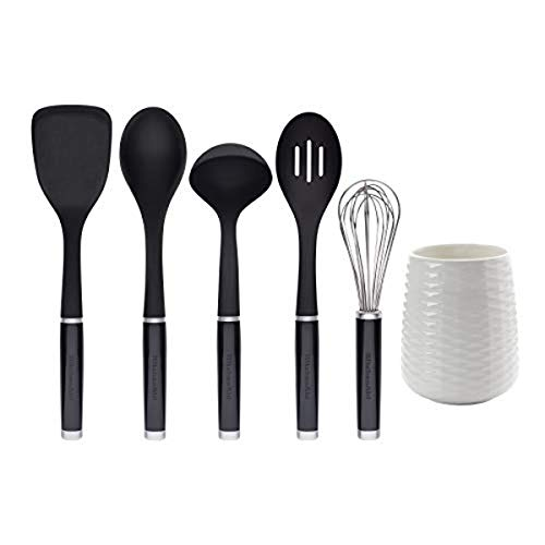 KitchenAid KQ562BXOBA 6-Piece Tool and Gadget Set with Crock, Plastic, Black