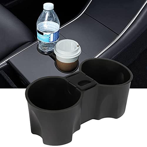Auto Getränkehalter Kompatibel mit 2021 Tesla Model 3/Y Mit Mini-Mülleimer aufbewahren, Mittelkonsole Silikonflaschenständer Interieur Zubehör für Vordersitzbecher, Schwarz