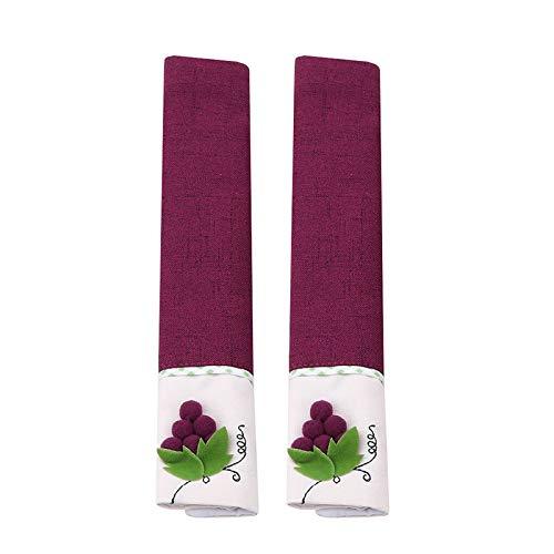 Poignée de porte à réfrigérateur Couvre des gants de réfrigérateur en tissu for la maison au four à micro-ondes Lave-vaisselle Poignée de porte 13x3cm DUO ER (Couleur : Purple)