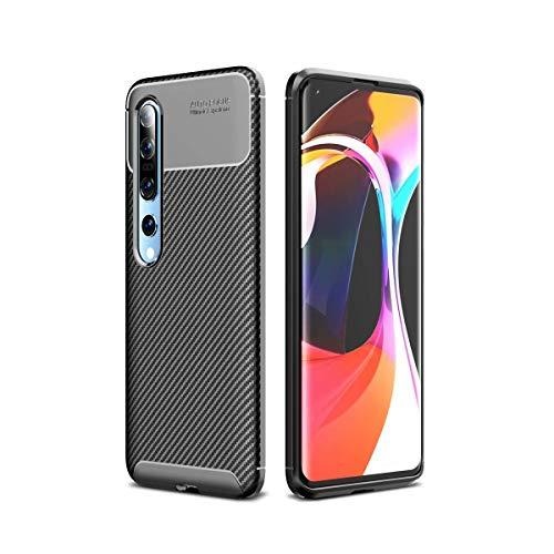 AILZH Carcasa para Funda Xiaomi Mi 10 Pro/Mi 10 TPU Silicona Suave Anti-rasguño Anti-Shock Antichoque Caso Mate Bumper Case Cover-Fibra de Carbono(Negro)
