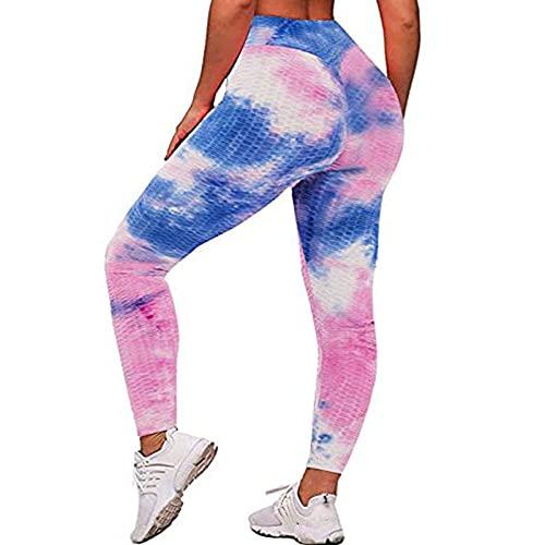 Deportivos Push up Mallas Running,Pantalones de Yoga teñidos de Cintura Alta, Leggings de Caderas sin Fisuras-Azul Morado_XXL,Elásticos Leggings Push Pantalones