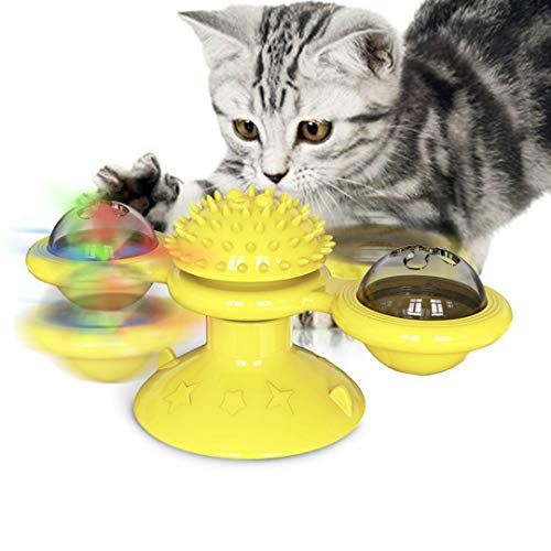Stafeny 1 x Haustier-Spielzeug, Windmühle, Katzenrad, Katzenspielzeug, Bürste, Katzenspielzeug, Puzzle, geeignet für Katzen, gelb, grün, blau, 15,8 x 7,4 x 6,9 cm, 98 g