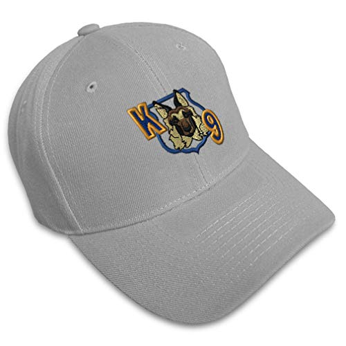 Baseball Cap K-9 Unit Embroidery Profession Police Officer Acrylic Hats for Men & Women Strap Closure Gray Design Only