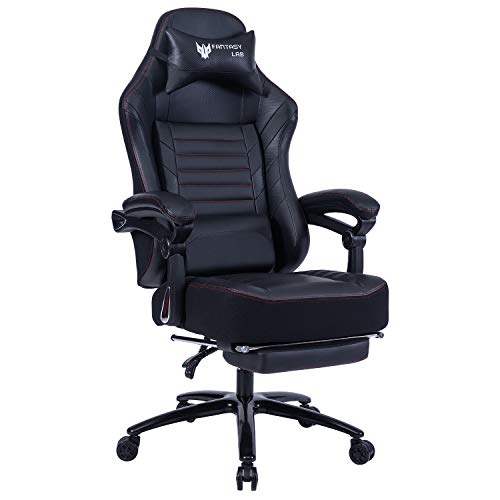 FANTASYLAB High Back Massage Memory Foam Reclining Gaming Chair Metal Base, 400lb Big and Tall Adjustable Back and Retractable Footrest Ergonomic Leather Racing Computer Desk Office Chair (Black)