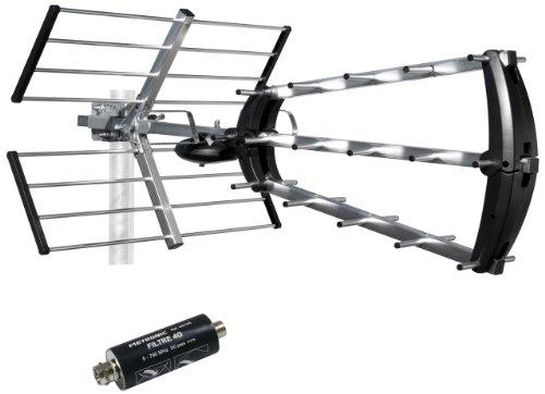 Metronic 415044 Antenne d'extérieure Trinappe 26dB UHF - Fiche F + filtre 4G intégré