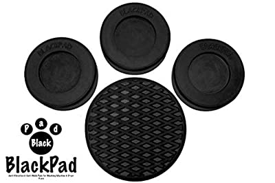 Washing Machine Rubber Feet Pads   Anti-Vibration & Anti-Walk Rubber Dampers   Textured Grip Prevents Walking & Skidding   Best For Laundry Washer & Dryer Noise Reduction   Set of 4 by BlackPad