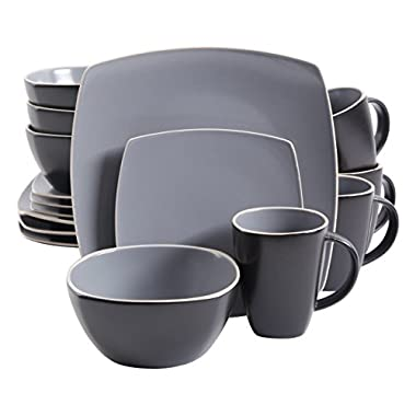 Gibson Home Soho Lounge Matte 16 Piece Dinnerware Set, Grey