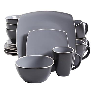 Gibson Home 102266.16RM Soho Lounge Matte 16 Piece Dinnerware Set, Grey