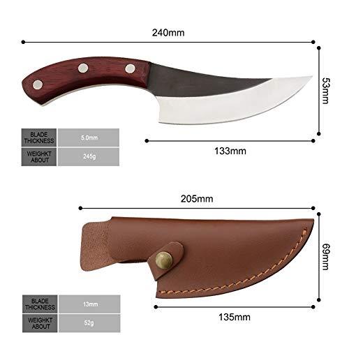 Küchenmesser geschmiedet 5,5 Zoll Boning Camping serbischen Messer Handgefertigte voller Zapfen in Scheiben geschnitten Chef-Küche Metzger-Messer Geschenk Lederscheide ( Color : Knife with covers )