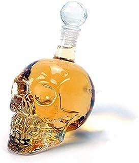 Whiskey Decanter, Crystal Skull Bottle, Glass Dispenser Also for Brandy Tequila Bourbon Scotch Rum, Great Any Bar (1L)