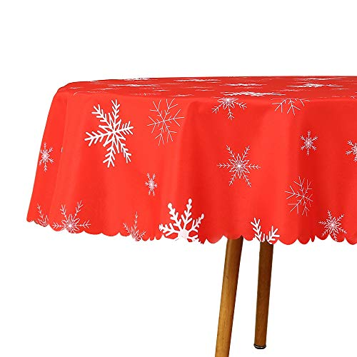 N/N Round Tablecloth Spill Proof Stain Resistant and Wrinkle Free Christmas Printed Snowflake Table Cloths Washable Polyester Table Cover for Xmas Dinner/Dining/Parties (70 inch)